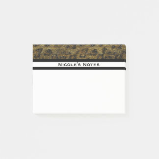 Leopard Cheetah Sparkle Glam Trendy Personalized Post-it Notes