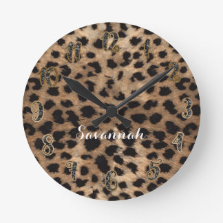 Leopard Cheetah Tan Brown Black Personalized Round Clock