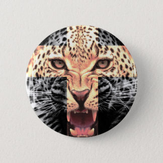 Leopard Cross Hipster 2 Inch Round Button