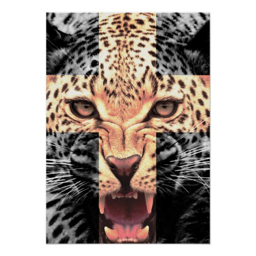 Leopard Cross Hipster Posters