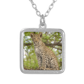 Leopard Cub on a Limb Silver Plated Necklace