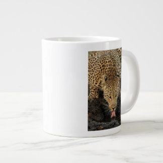 Leopard drinking, South Africa Giant Coffee Mug