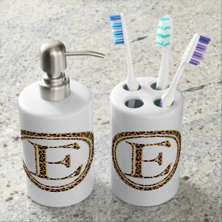 leopard E Soap Dispenser And Toothbrush Holder