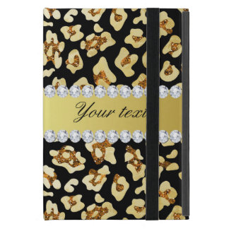 Leopard Faux Gold Glitter and Foil Black Cover For iPad Mini