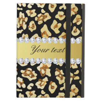 Leopard Faux Gold Glitter and Foil Black iPad Air Cases