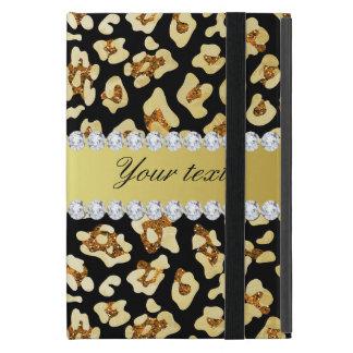 Leopard Faux Gold Glitter and Foil Black iPad Mini Cases
