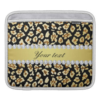 Leopard Faux Gold Glitter and Foil Black iPad Sleeve