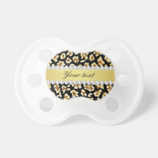 Leopard Faux Gold Glitter and Foil Black Pacifiers