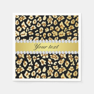 Leopard Faux Gold Glitter and Foil Black Paper Napkin