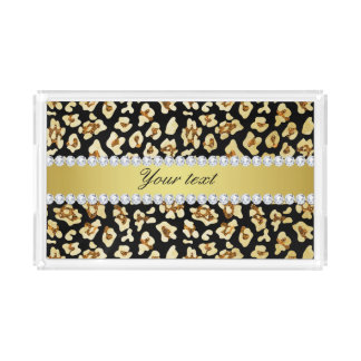 Leopard Faux Gold Glitter and Foil Black Serving Tray