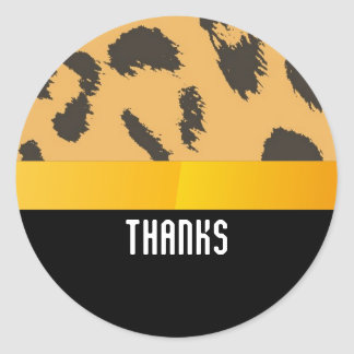 Leopard Fur Pattern Thank You Classic Round Sticker
