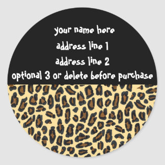 Leopard Fur Print Address Labels Round Sticker