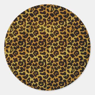 Leopard Fur Print Animal Pattern Classic Round Sticker