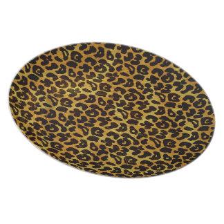 Leopard Fur Print Animal Pattern Dinner Plate
