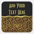 Leopard Fur Print Animal Pattern Square Sticker