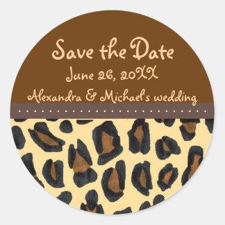 Leopard Fur Save the Date Classic Round Sticker