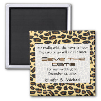 Leopard Fur Save the Date Square Magnet