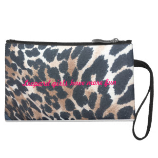 leopard girls have more fun suede wristlet