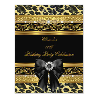"Leopard Gold Birthday Party Elegant Diamond Black 4.25"" X 5.5"" Invitation Card"