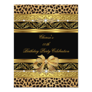 "Leopard Gold Birthday Party Elegant Diamond Black 4.25"" X 5.5"" Invitation Card"