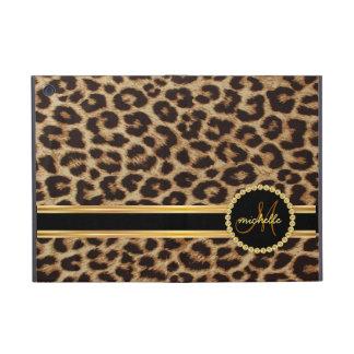 Leopard Gold Bling Monogram Cover For iPad Mini