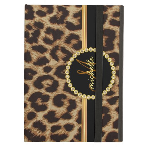Leopard Gold Bling Monogram iPad Cover