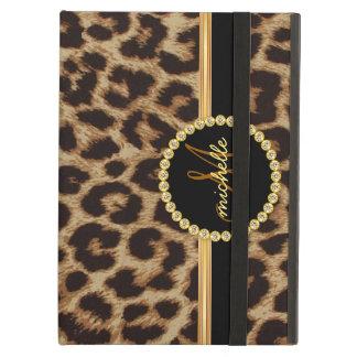 Leopard Gold Bling Monogram iPad Cover
