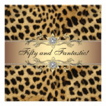 Leopard Gold Womans 50th Birthday Party Personalized Announcements