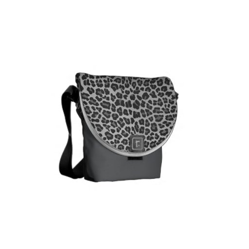 Leopard Gray and Light Gray Print Courier Bag