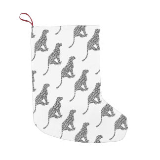 Leopard Gray and Light Gray Silhouette Small Christmas Stocking