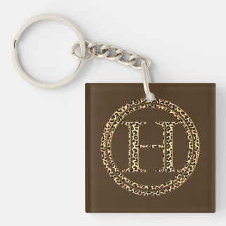 Leopard H Single-Sided Square Acrylic Keychain