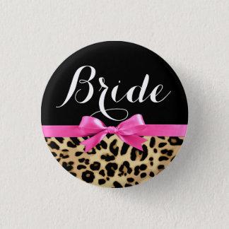 Leopard Hot Pink Bow Bride Wedding Button