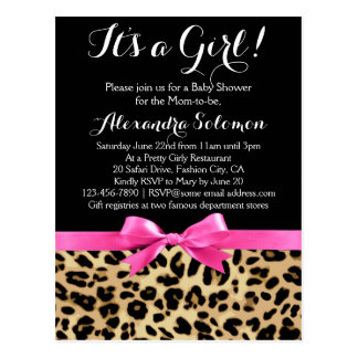 Leopard Hot Pink Bow Its a Girl Safari Baby Shower Postcard