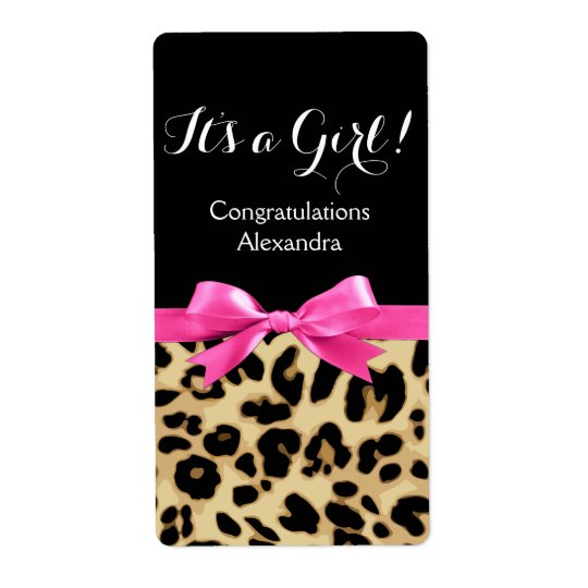 Leopard Hot Pink Bow Its a Girl Safari Baby Shower Shipping Label