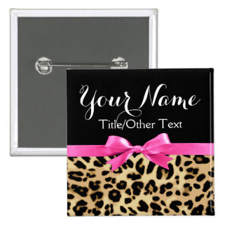 Leopard Hot Pink Bow Personalized Name Tag 2 Inch Square Button