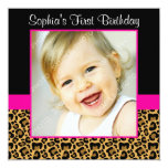 """Leopard Hot Pink Girls Photo 1st Birthday Party 5.25"""" Square Invitation Card"""