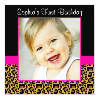"Leopard Hot Pink Girls Photo 1st Birthday Party 5.25"" Square Invitation Card"