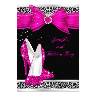 Leopard Hot Pink High Heel Shoe Birthday Party 2 Invite