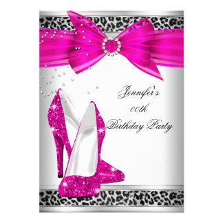 Leopard Hot Pink High Heel Shoe Birthday Party Custom Invitation