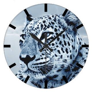 Leopard in Black and White Clocks