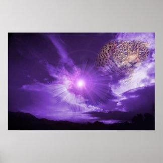 Leopard in purple sky. poster