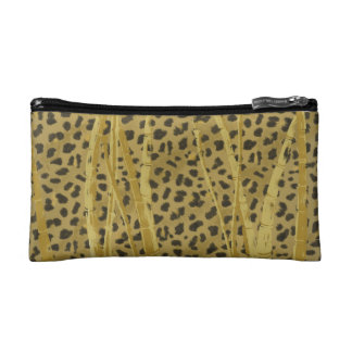 Leopard  in the Grass Print Cosmetic Bag