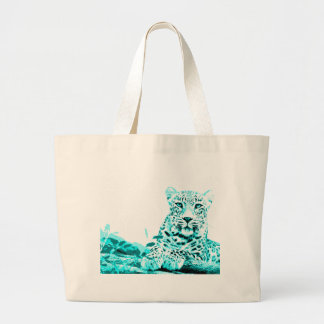 Leopard in Turquoise Blue on White Background Jumbo Tote Bag