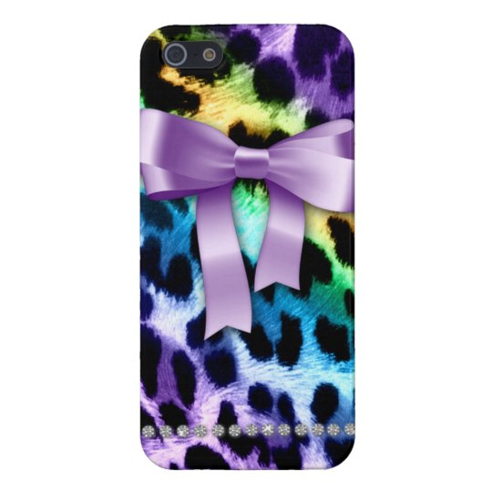 Leopard iPhone Cover Case Purple Bow Cute Pattern Case For iPhone 5/5S