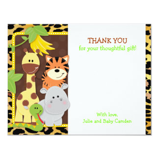 """Leopard Jungle Friends Baby Shower Thank You Cards 4.25"""" X 5.5"""" Invitation Card"""