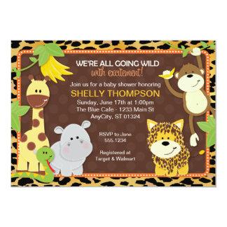 """Leopard Jungle Friends Orange Baby Shower Invitati 5"""" X 7"""" Invitation Card"""