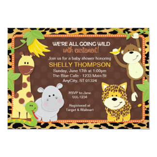 Leopard Jungle Friends Orange Baby Shower Invitati Card