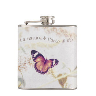 Leopard Lacewing Butterfly Edited Shabby and Chic Hip Flask