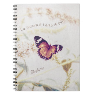 Leopard Lacewing Butterfly Edited Shabby and Chic Notebook