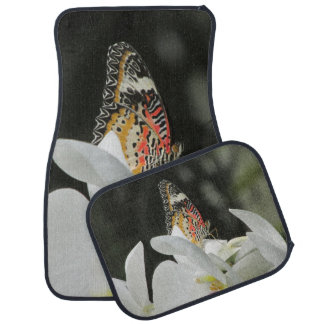 Leopard Lacewing Butterfly on White Orchid Car Mat